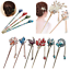 Charm-Women-Rhinestone-Handmade-Hair-Stick-Hair-Chopsticks-Hairpin-Pin-Chignon thumbnail 1