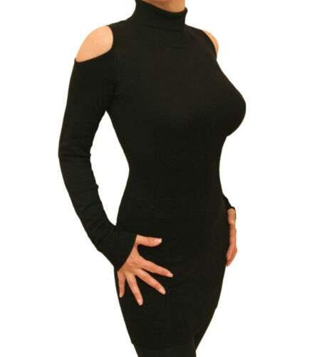 Cold Shoulder New Cut Out Polo Neck Jumper Blue Banana