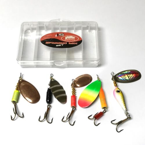 5 Spinners in pocket lure box Ideal For Perch Salmon Pike trout Fishing #15