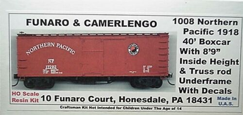 Details about  / Funaro F/&C HO  Northern Pacific 1918 40/' Boxcar Truss rod boxcar Kit 1008