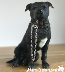 BLACK STAFFIE SITTING DOG ORNAMENT// FIGURINE WITH LEAD BY LEONARDO