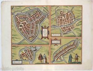 Sneek-Dokkum-Sloten-Ijlst-Niederlande-Nederland-Kupferstich-Braun-Hogenberg-1588
