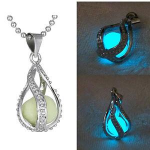 Fashion-Women-The-Little-Mermaid-039-s-Teardrop-Glow-in-Dark-Charm-Pendant-Necklace