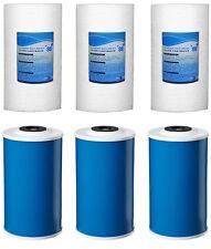 """6 Big Blue Water Filters GAC Carbon & Sediment 4.5"""" x 10"""" Whole House Cartridges"""