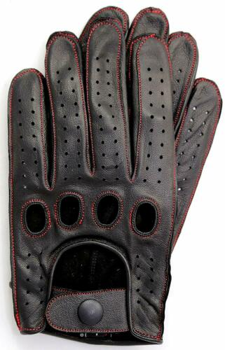 Black//Red Thread Riparo Reverse Stitched Leather Driving Motorcycle Gloves