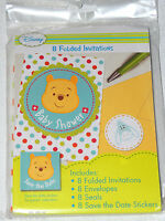 Baby Winnie The Pooh 8 Baby Shower Invitations W/envelopes -- Party