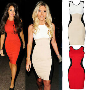 NEW-Womens-Ladies-Optical-Illusion-Contrast-Bodycon-Party-Cocktail-Evening-Dress
