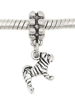 STERLING SILVER DANGLING TINY PUPPY SHAR PEI DOG EUROPEAN BEAD