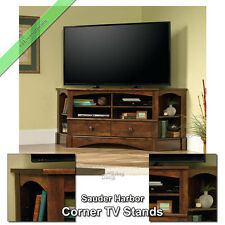 """Sauder Corner TV Stand 60"""" Console Table Stands for Flat Screens, Curado Cherry"""