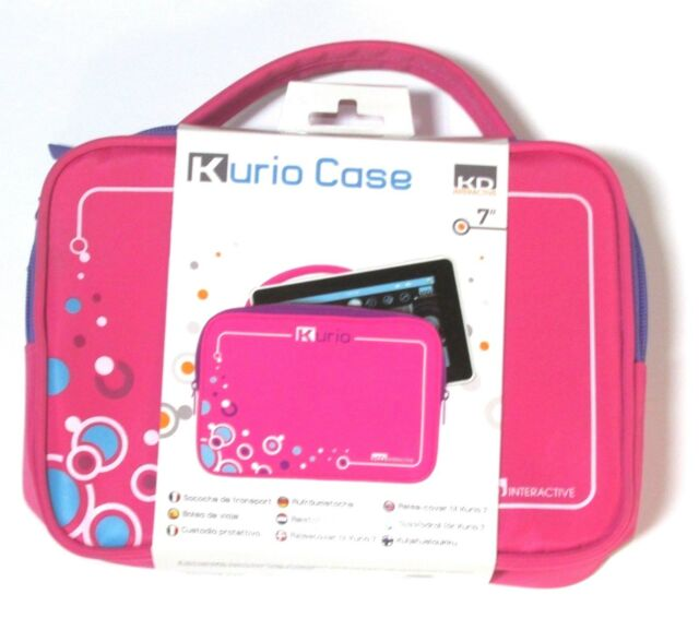 """NEW Kurio Case Carrying Bag Pink Travel 7"""" with 2 Storage Pockets Zipper Girls"""