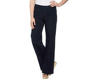 Isaac-Mizrahi-Women-039-s-Petite-24-7-Denim-Fly-Front-Wide-Leg-Jeans-Size-10P-QVC