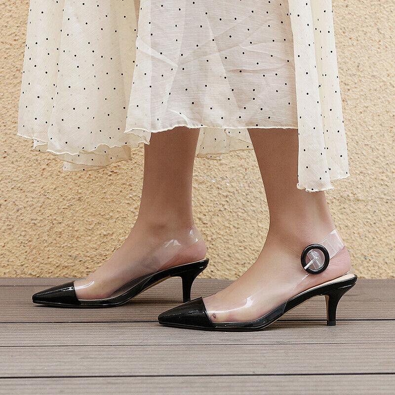 Summer Pointed Toe Slingbacks Women's Pumps High Heels Transparent Sandals shoes