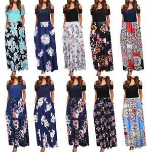 63626b32e4c Charm Women s Cold Shoulder Floral Print Short Sleeve Long Maxi ...