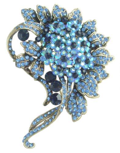 """Gracieux 3.15/"""" Fleur Broche Broche Bleu Strass Cristal 05842C6"""