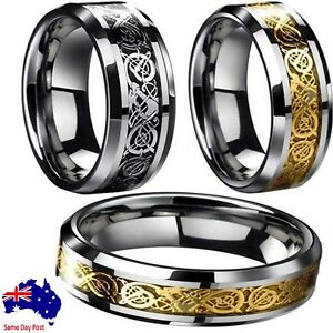 Fashion-Men-039-s-Silver-Gold-Black-Celtic-Dragon-Stainless-Steel-Wedding-Band-Ring