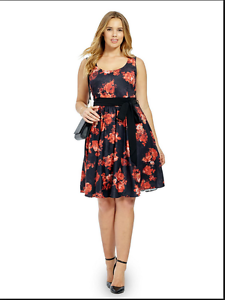 Details about NEW CITY CHIC BLACK RED MIDNIGHT ROSE BLOOM FLORAL DRESS PLUS  SIZE XS 14