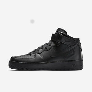 Details about Nike Air Force 1 One Mid Top All Triple Black 315123 001 AF1  Uptown Size 8-13 DS ca96f3eff444
