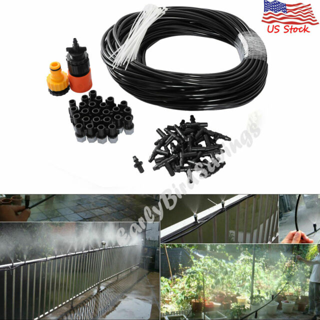 10m 33ft Misting Cooling Hose W// 10 Plastic Nozzles For Outdoor Garden Patio