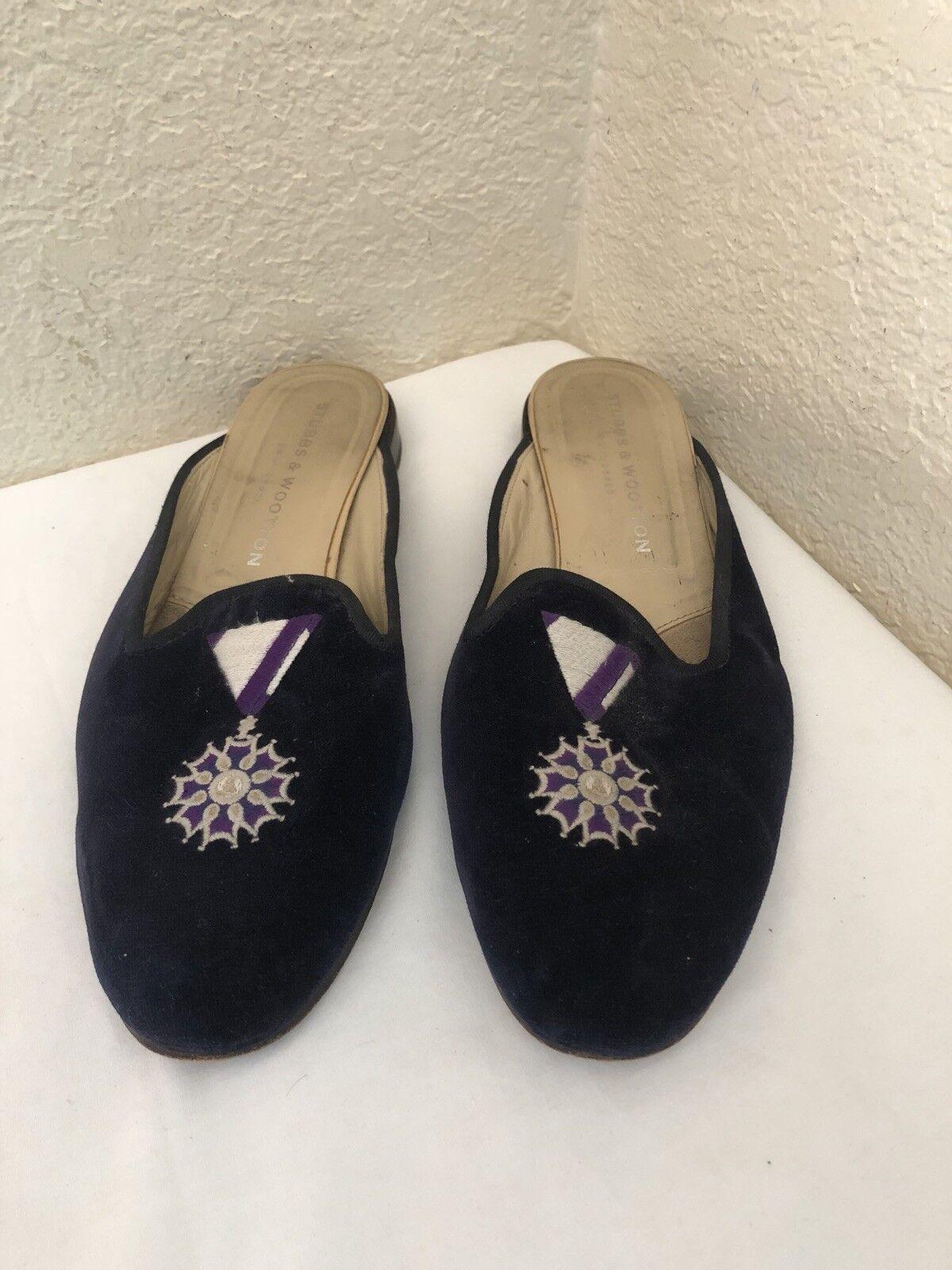 Stubbs & Wootton Indigo Velvet violet Medal Mule Slippers chaussures femmes SZ 9