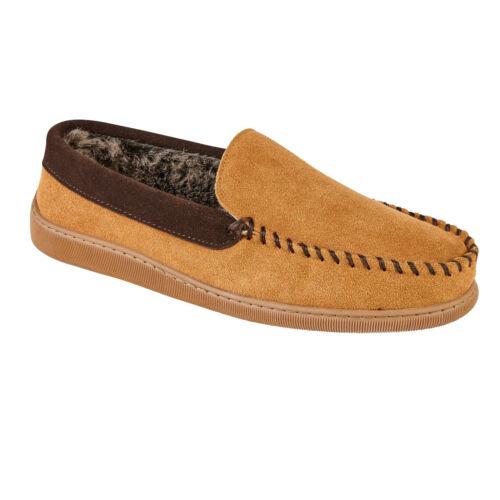Tan Mens Suede Slippers Jo /& Joe Mens Slip on Leather Fur Moccasins Slippers