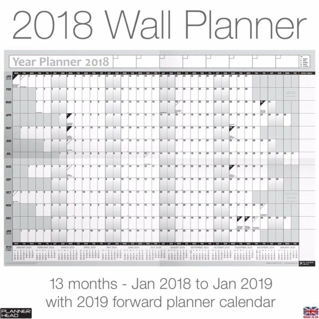 2018 Yearly Planner Annual Wall Chart Year Planer In Grey Desk