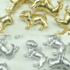 Bulldog Metal Beads Pendants Gold Silver Beads for Jewelry Making Supplies #219