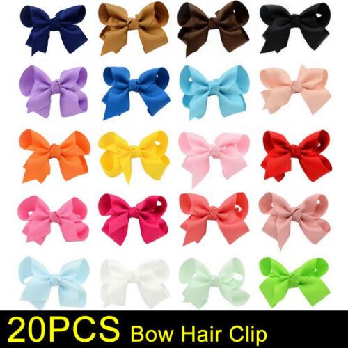 20PCS Handmade Bow Hair Clip Alligator Clips Girls Ribbon Kids Sides NEW