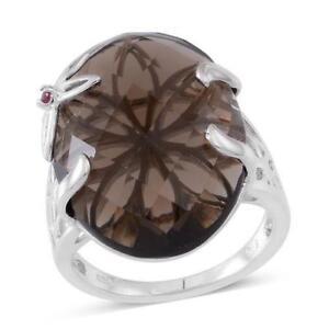 Impresionante-Plata-esterlina-anillo-de-rubi-de-cuarzo-ahumado-amp-birmano-tamano-R-8-6-gramos