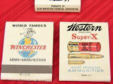 Vintage NOS Winchester Ammunition Gun Ammo Western Super X Match Book Matches Ad