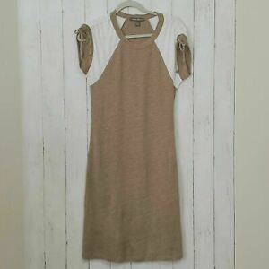 Tommy Bahama XXS 100% Linen Dress Midi Casual Bodycon Stretch Pencil Khaki Green