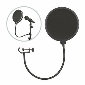 Double-Layer-Studio-Microphone-Mic-Wind-Screen-Mask-Gooseneck-Shied-Filte-LA