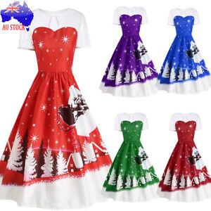 AU-Women-039-s-Plus-Size-Christmas-Swing-Dress-Party-Rockabilly-Retro-Vintage-Skater