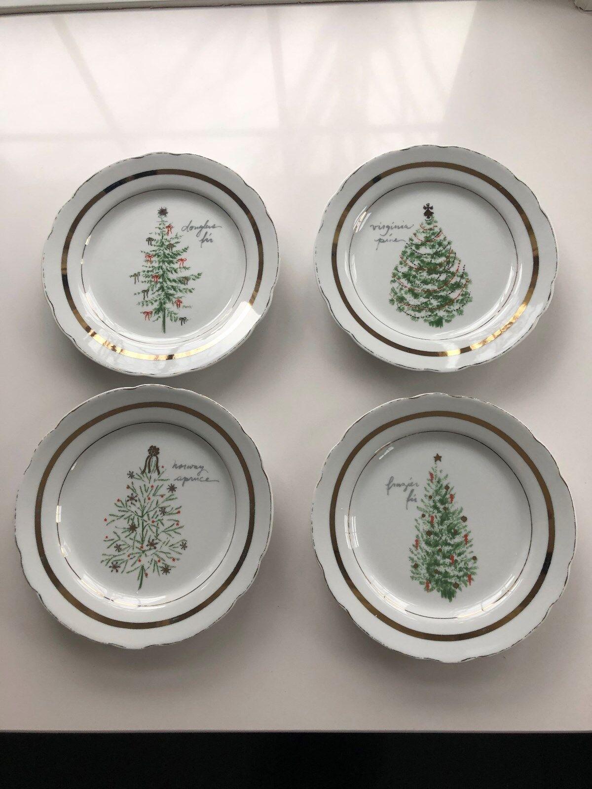 Pottery Barn Vintage Christmas Tree Appetizer Plates set 4 2018