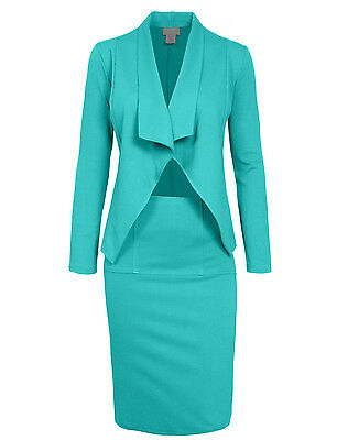 Womens Office Big Lapel Collar Stretch Casual Slim Blazer&Skirt Suit Set NEWSS02