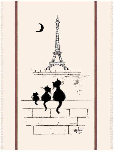 Torchons & Bouchons French Cat Family Eiffel Tower Paris DUBOUT Kitchen Towel