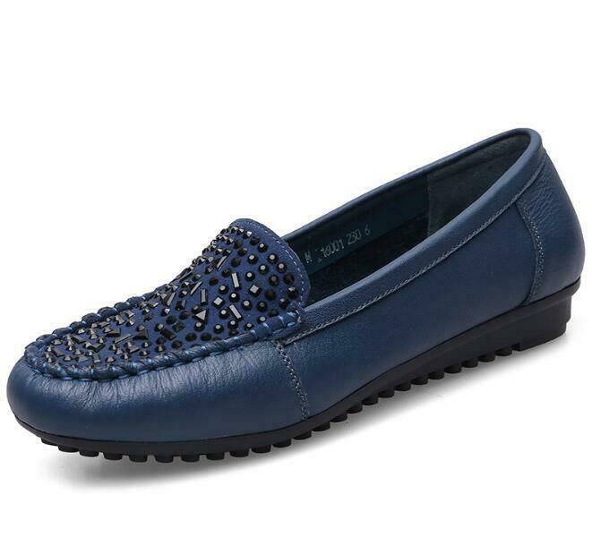 Womens Lady Soft Leather Loafers Slip On shoes Rhinestone Flats shoes Plus Size