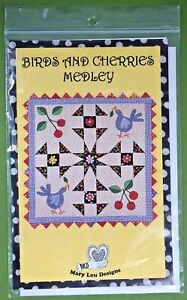 Birds-amp-Cherries-Medley-quilt-pattern-Mary-Lou-Designs-336-wall-hanging-42-x-42-034