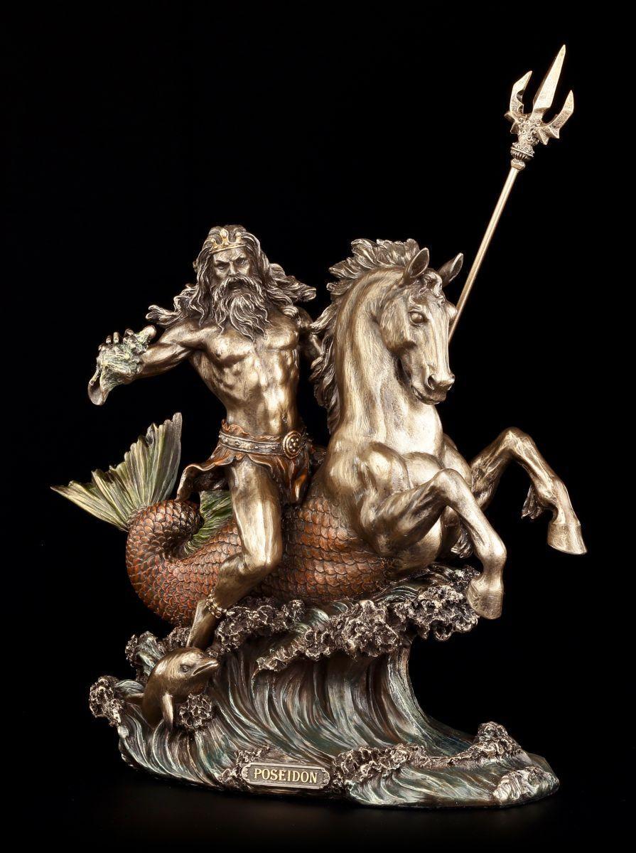 Poseidon personnage-au galop sur cheval de mer-Neptune DIEU MER LAC statue-veronese