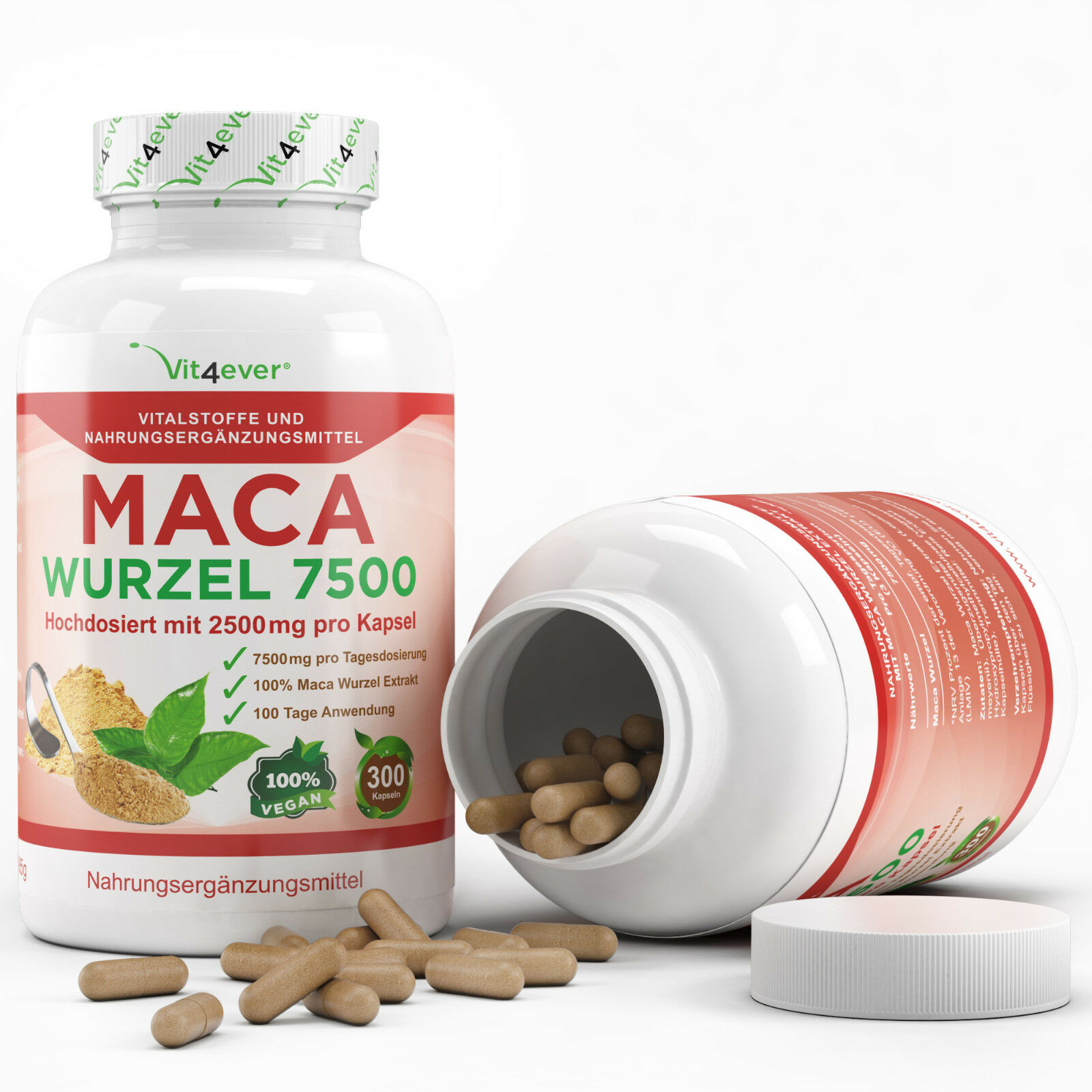 MACA 7500 300-900 Kapseln vegan - Hochdosiert - Muskelaufbau Potenz Laborgeprüft