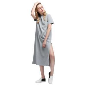 cbec3826ded Women Sexy Casual Side High Slits Tee Long Top Maxi Dress T-shirt ...