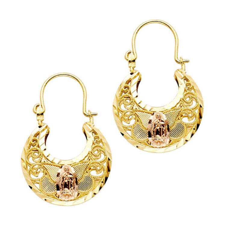 Virgen de Guadalupe Hoop14k Yellow gold - Virgen de Guadalupe Hoops 3 Tone gold