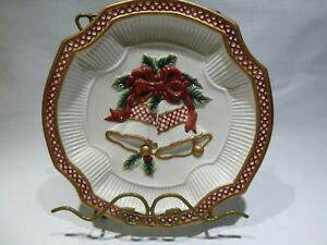 Fitz-and-Floyd-Essentials-034-Holiday-Bells-034-Canape-Plate-Christmas-Cookie-Plate