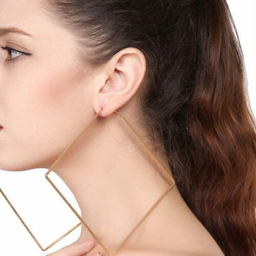 Women Punk Style Large Big Oversized Square Earrings Gold Silver Jewelry LC