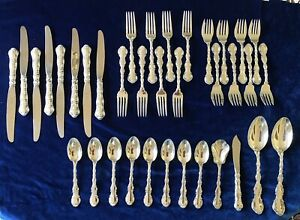 Strasbourg-by-Gorham-Sterling-Silver-Flatware-Place-Size-Set-8-Service-36-Pieces