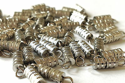 BARREL FIXINGS Silver Plated Screw in  7mm x 3mm  Plus Eyes  MPC 0111  50 Pieces