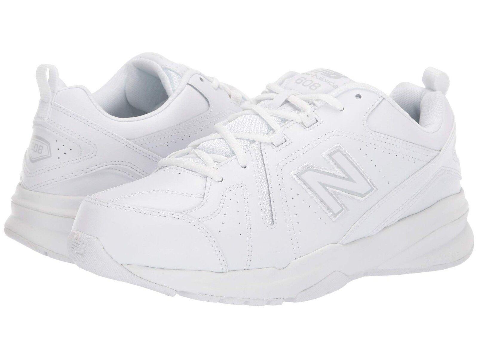 NEW Mens New Balance 608v5 White White Leather Athletic Training shoes AUTHENTIC