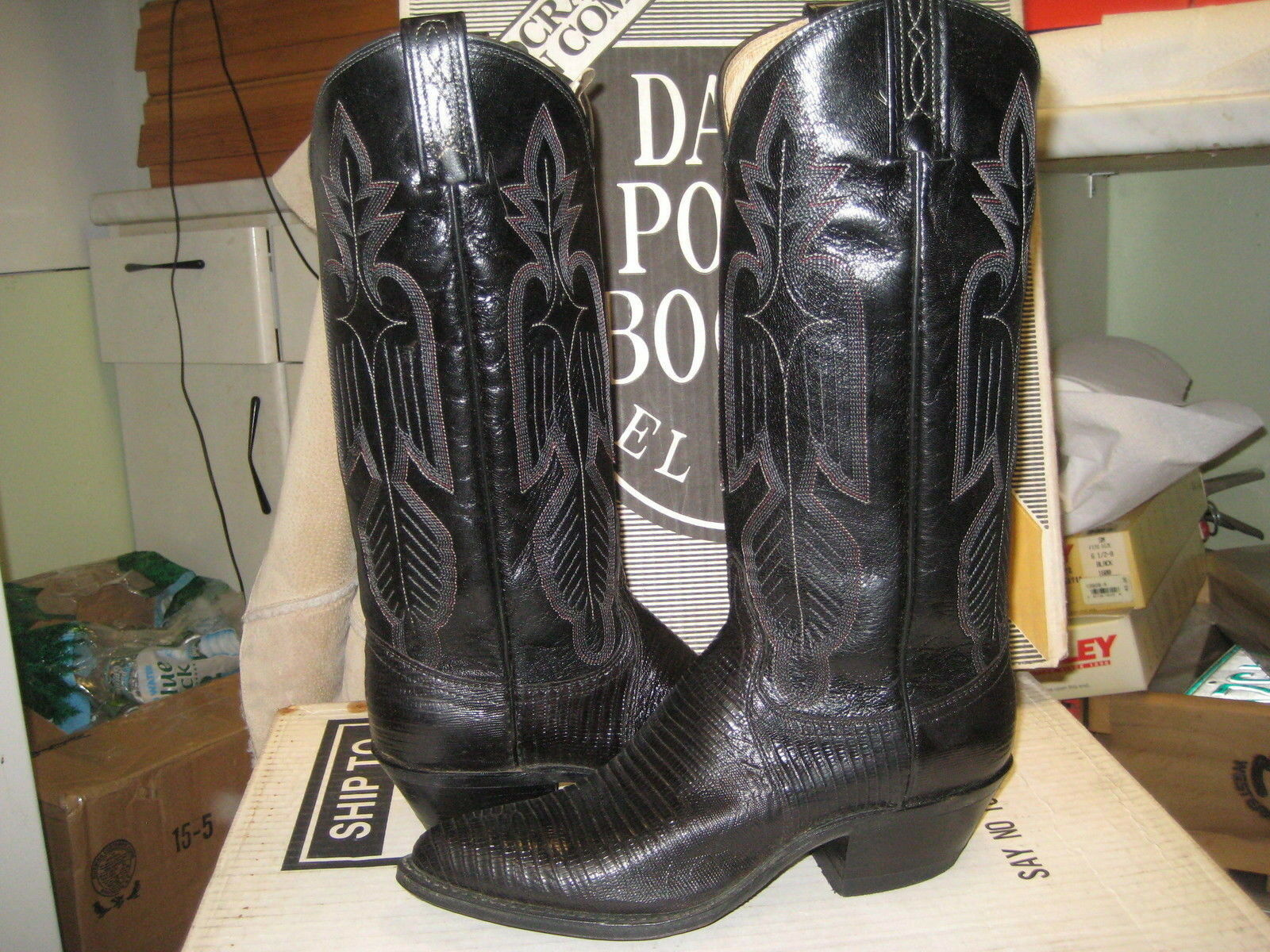 Dan Post para mujer botas botas botas occidental 4010 Negro Lagarto cuero 5.5 B Nuevo a5956e
