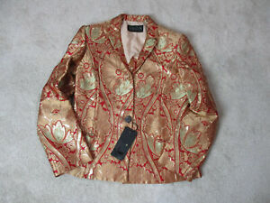 NEW-Krizia-Blazer-Jacket-Womens-Large-Size-10-Giold-Red-Button-Front-Ladies-965