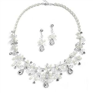 Homemade Wedding Bride Crystal and Rice Pearls Necklace & Earrings Bridal Set