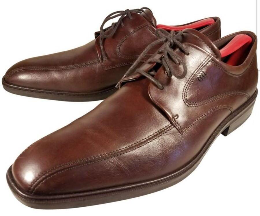 ECCO MAN SHOES OXFORDS  BROWN LEATHER  EUR 44  US 10-10.5
